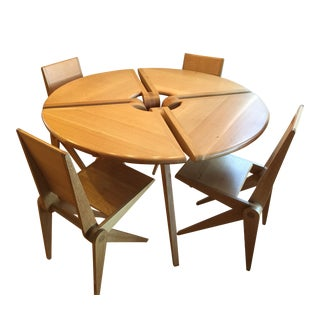 Danish Modern White Oak Dining Table And Chairs