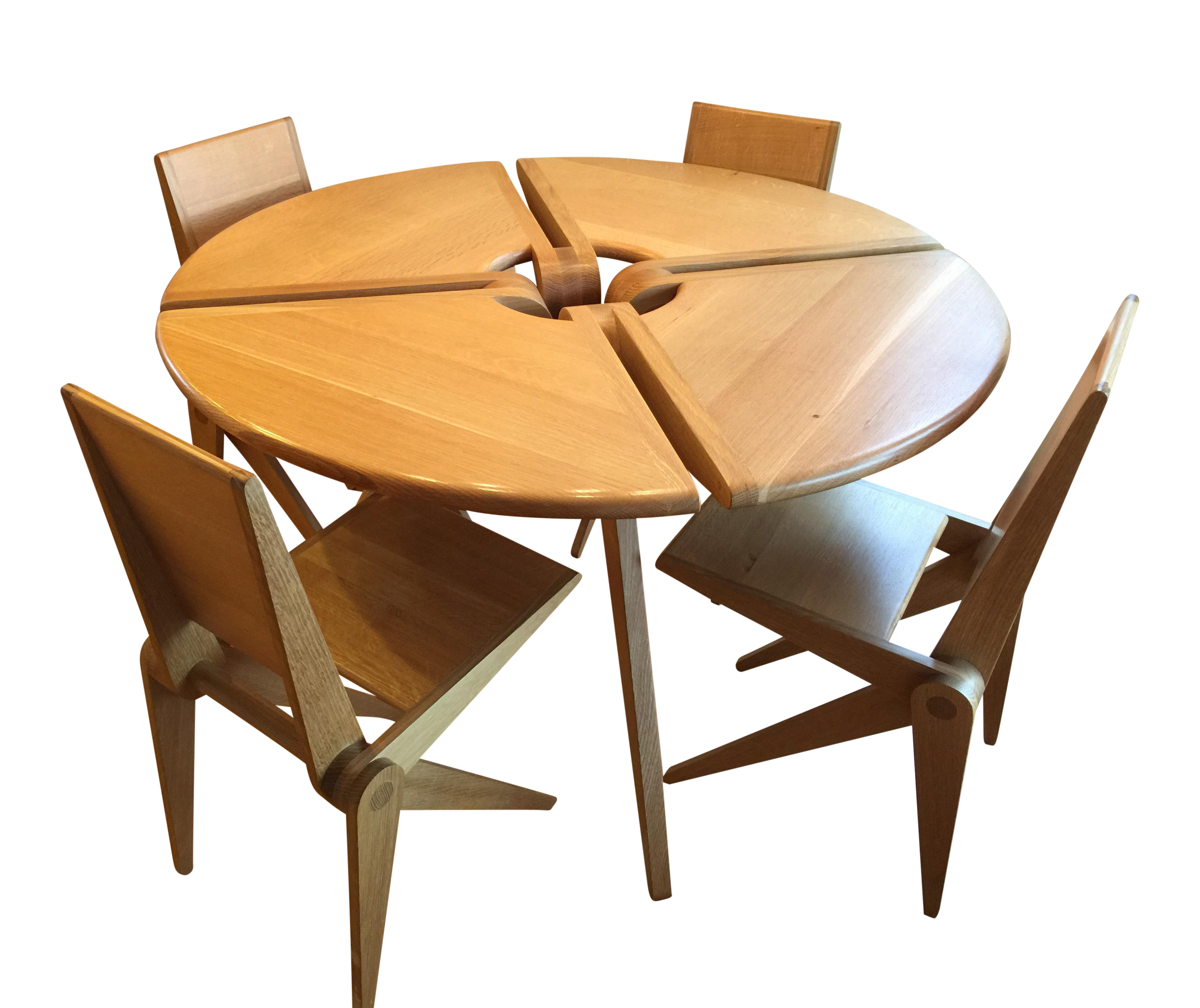 Danish Modern White Oak Dining Table And Chairs   Dining Set
