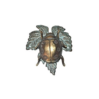 Vintage Bronze Ladybug on a Leaf Door Knocker