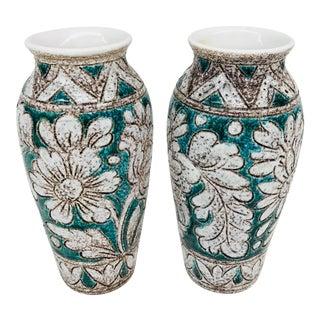 Mid-Century Floral Motif Vases - A Pair