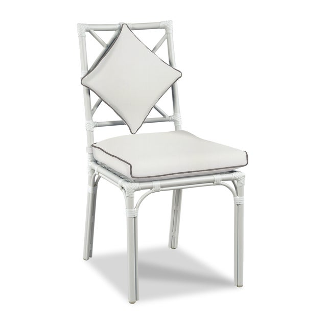 Traditional Haven Outdoor Dining Chair, White and Coal For Sale - Image 3 of 3