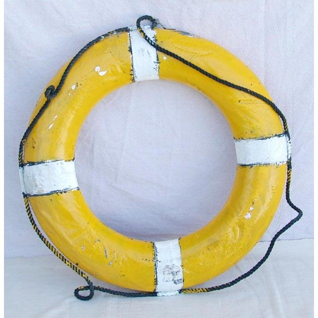 Vintage Nautical Yellow & White Life Preserver   Chairish