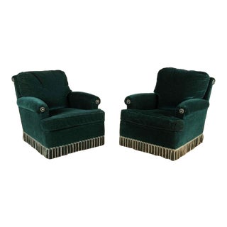 Final Markdown French Upholstered Club Chairs - a Pair For Sale