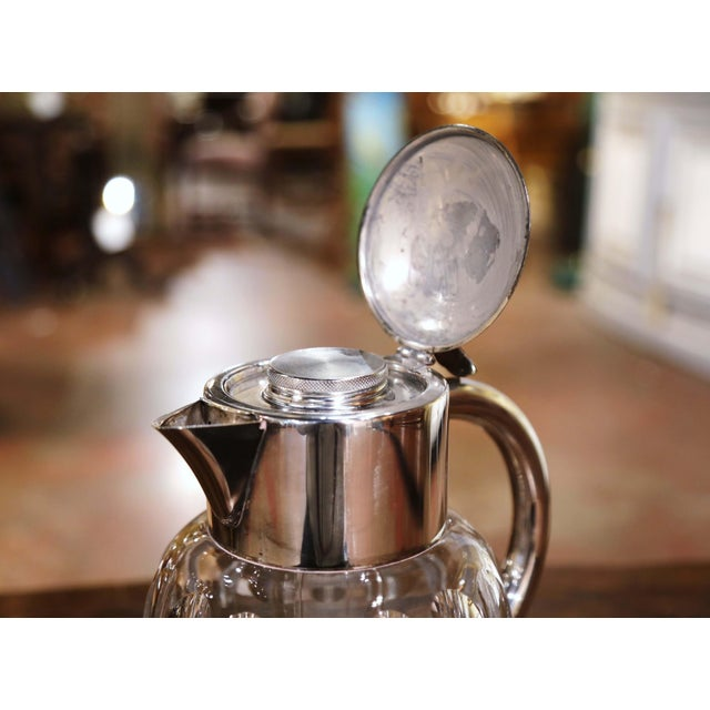 Metal Midcentury French Cut-Glass and Silvered Brass Pitcher With Ice Holder Insert For Sale - Image 7 of 10