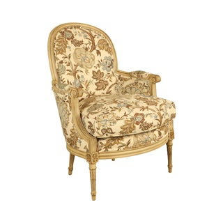 Baker French Louis XVI Style Custom Painted Bergere Chair For Sale