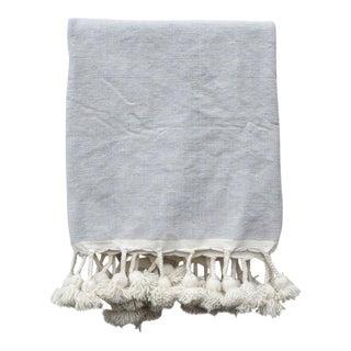 Grey Skies Moroccan Pom Pom Blanket For Sale