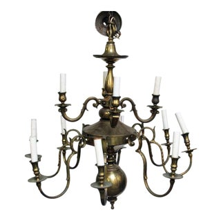 Large 12 Arm Brass Colonial Chandelier For Sale