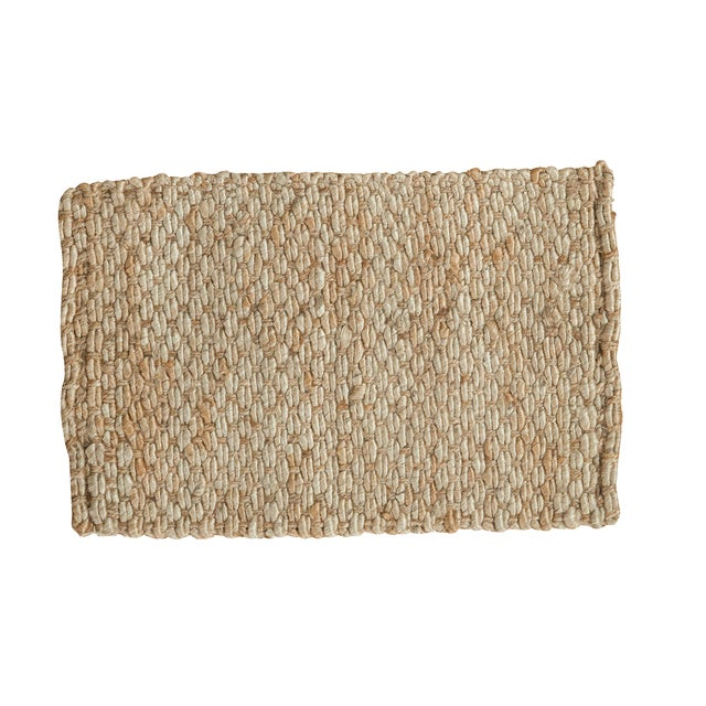 "Hand Braided Ivory Entrance Mat - 2' X 3'1"" - Image 1 of 2"