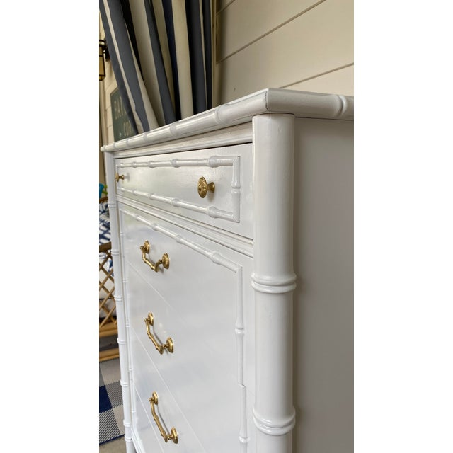 Hollywood Regency 1960s Vintage Thomasville Faux Bamboo Highboy For Sale - Image 3 of 12