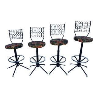 Mid-Century Arthur Umanoff Style Swivel Bar Stools - Set of 4 For Sale
