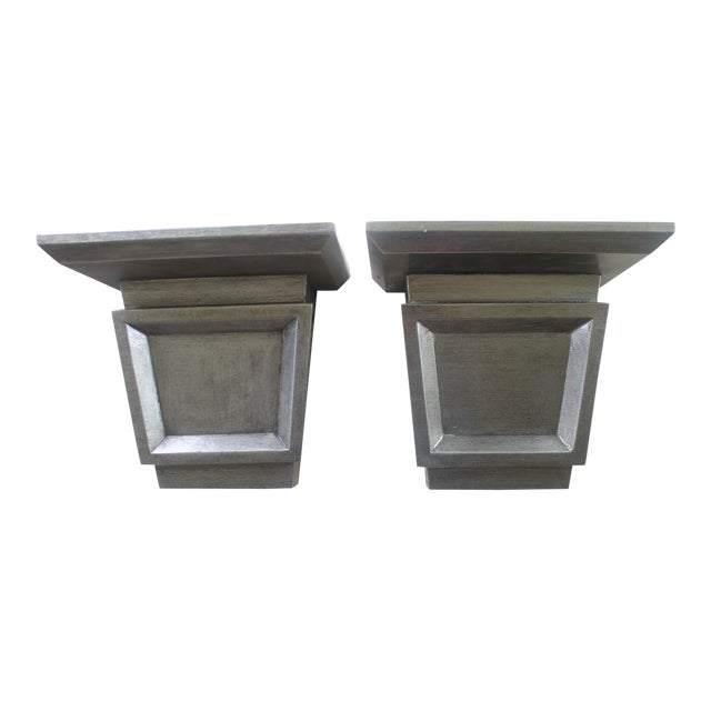Asian Modern Port 68 Jonathan Silver Leaf Wall Brackets - a Pair For Sale