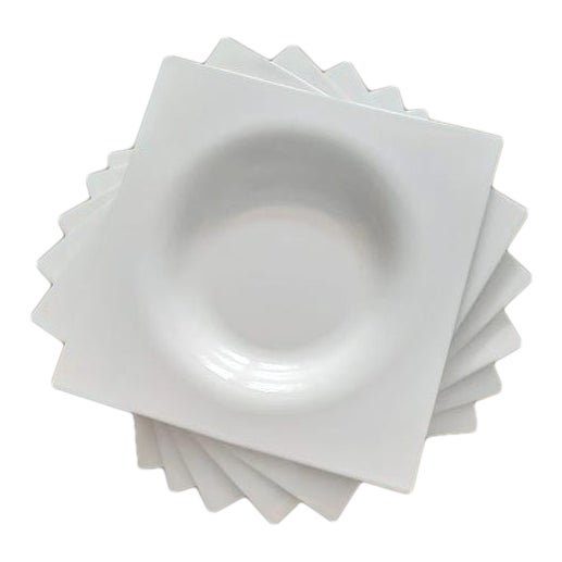 Ligne Roset Jean-Marc Gady White Ceramic Moon Plates- Set of 6 For Sale