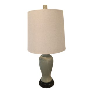 Marbro Lamp Company Mid-Century Celedon Ginger Jar Lamp With Wood Base, Includes Shade and Finial For Sale
