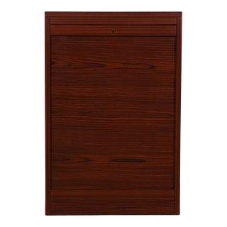 Petite Danish Modern Rosewood Locking Tambour Door Filing Cabinet For Sale
