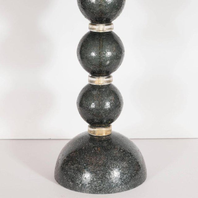 Art Deco Modernist Handblown Murano Table Lamps in Smoked Gunmetal For Sale - Image 3 of 7