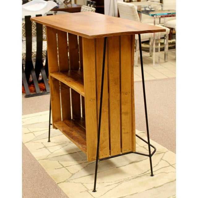 For your consideration is a beautiful, standing bar, made of wrought iron and with wooden slats, by Arthur Umanoff for...