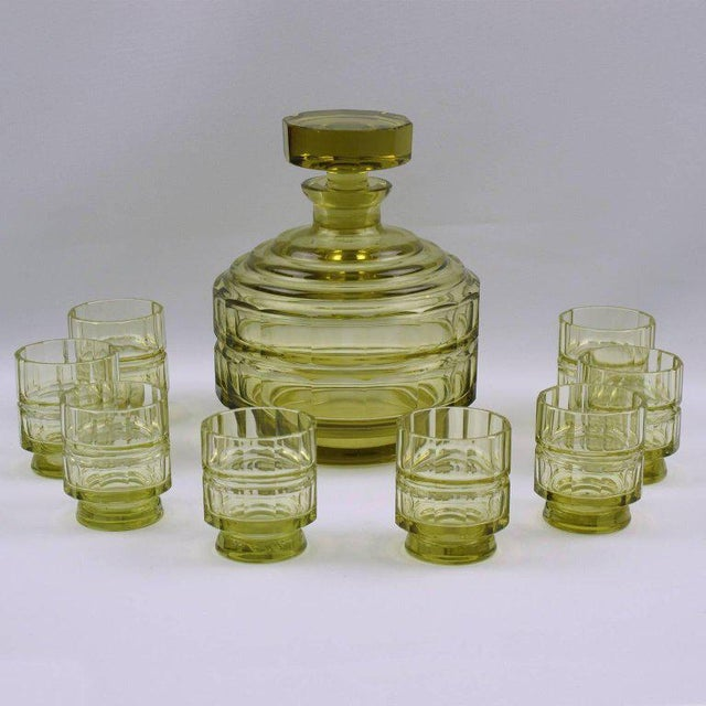 Art Deco Barware Bohemian Crystal Liquor Decanter & Glass Set For Sale - Image 11 of 11