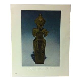 """Circa 1960 """"Seated Figure of Cast Gold Bottle With a Spout of the Top of the Head"""" Treasures of Ancient America Mounted Print For Sale"""