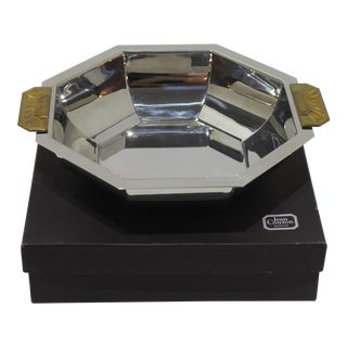 Art Deco Revival Stainless Steel and Bronze Octagonal Bowl With Original Box by Jean Couzon Orfeve, Paris For Sale
