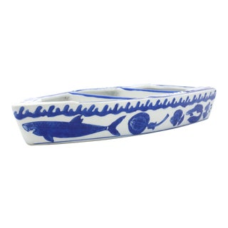 Blue and White Ceramic Boat Bowl or Table Shelf For Sale