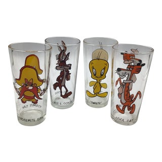 Vintage 1973 Warner Bros. Pepsi Collector Series Glasses Wile E. Coyote, Tweety, Yosemite Sam, and Cool Cat- Set of 4 For Sale