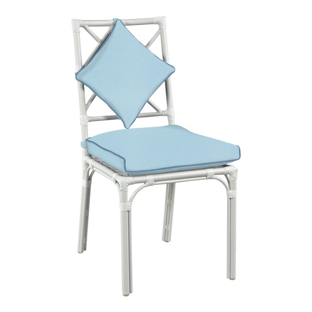 Haven Outdoor Dining Chair, Mineral Blue and Sapphire For Sale