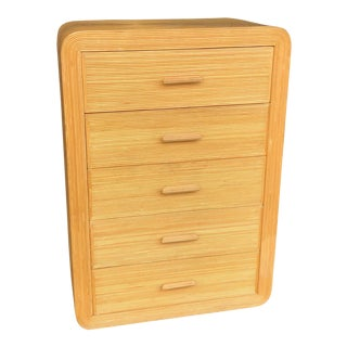 Vintage Pencil Reed Rattan Chest of Drawers For Sale