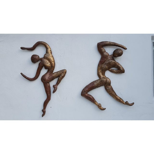 Overscale Brutalist Abstract Acrobats Bronze Wall Sculptures a Pair. - Image 2 of 11