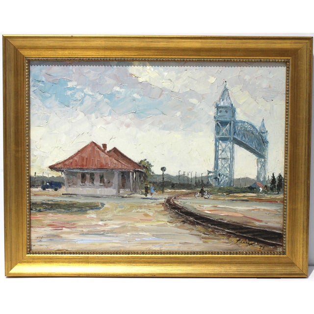 Vintage Oil Painting Buzzards Bay Cape Cod Palette Knife Technique For Sale - Image 11 of 12