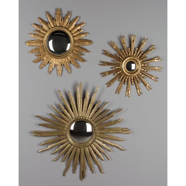 Giltwood Vintage Mid-Century Italian Giltwood Sunburst Mirror For Sale - Image 7 of 8