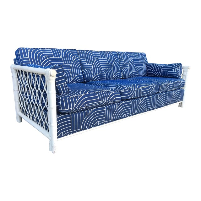 Bamboo Rattan Mid Century Tuxedo Sofa in the Manner of Ficks Reed For Sale
