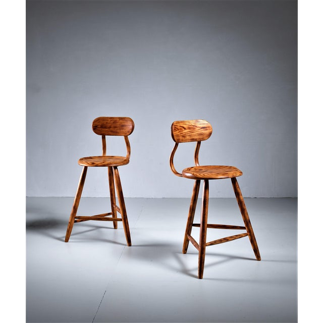 Mid-Century Modern Kai Pedersen studio pair bar stools with removable backrest , USA, 1983 For Sale - Image 3 of 5