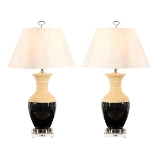 Striking Pair of Bamboo Lamps with Accents of Lucite, Nickel and Black Lacquer For Sale