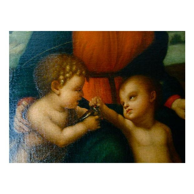 Original Antique Old Master Italian Oil Painting Madonna After Raphael 18th C. For Sale - Image 4 of 5