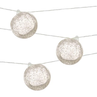 Aurora Glow Outdoor Solar Powered Hand Blown String Lights in Clear with White For Sale