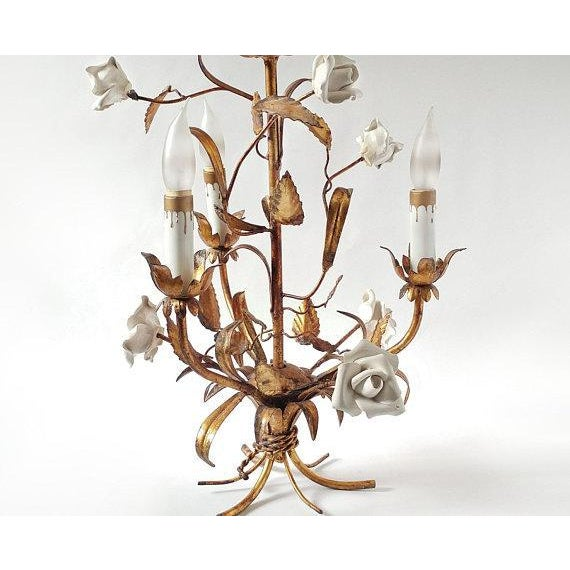 1920's Vintage French Toleware 3 Lite Chandelier For Sale - Image 6 of 8