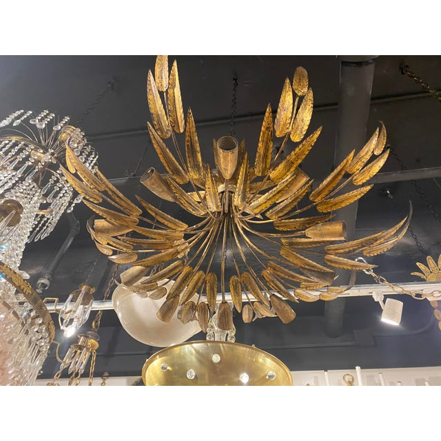 Gold 1930s Gilt Metal 10 Light Fixture For Sale - Image 8 of 10