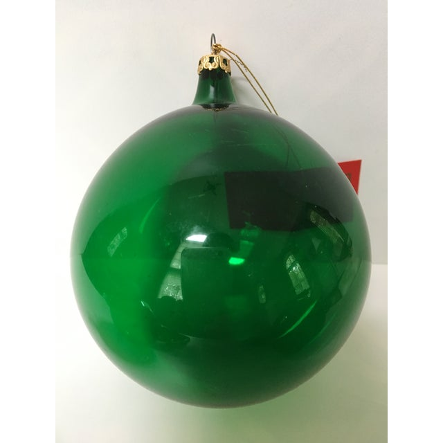 1980's Vintage Italian Green Handblown Glass Christmas Ornaments- Set of 3 For Sale - Image 4 of 6