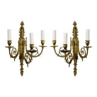 Late 19th Century 2nd Empire Brass 3-Arm Sconces - a Pair For Sale