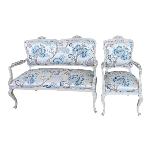Floral Upholstered French Settee & Arm Accent Chair For Sale