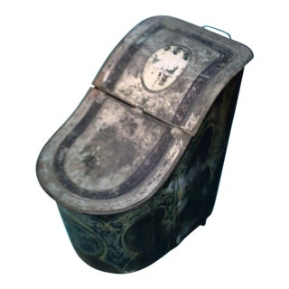 Antique Rustic Metal Coal Scuttle For Sale