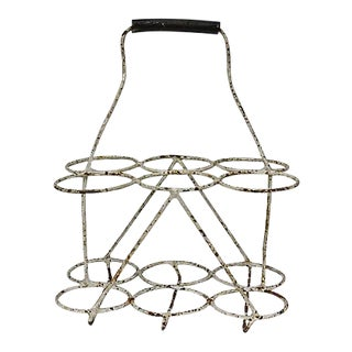 Midcentury French Metal Wine Carrier For Sale