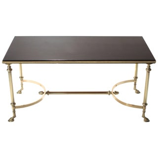 Rare Maison Charles Brass and Lacquer Coffee Table, 1960s For Sale