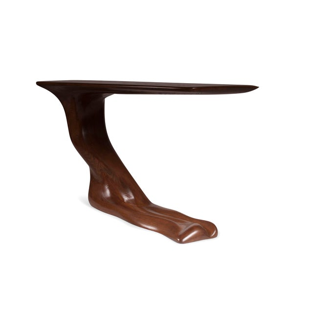 Frolic Walnut Finish Console Table With Base For Sale In Los Angeles - Image 6 of 9