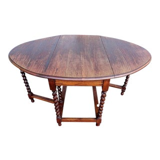 Early 1900's Antique Oak Barley Twist Drop Leaf Table