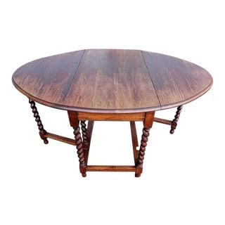 Early 1900's Antique Oak Barley Twist Drop Leaf Table