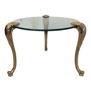 Round Mastercraft Glass & Brass Side Table
