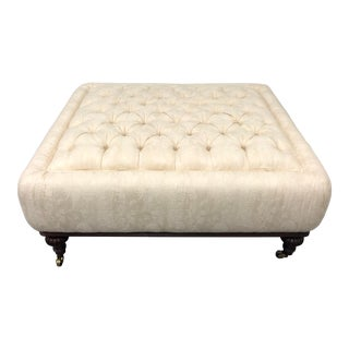Art Deco Ralph Lauren East Grand Ivory Tufted Ottoman