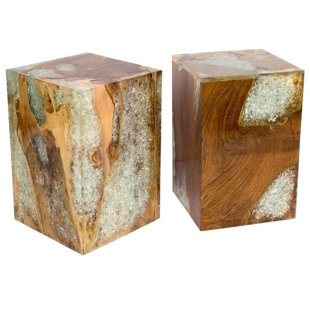 Pair of Organic Modern Bleached Teak Wood and Resin Side Tables For Sale - Image 12 of 13