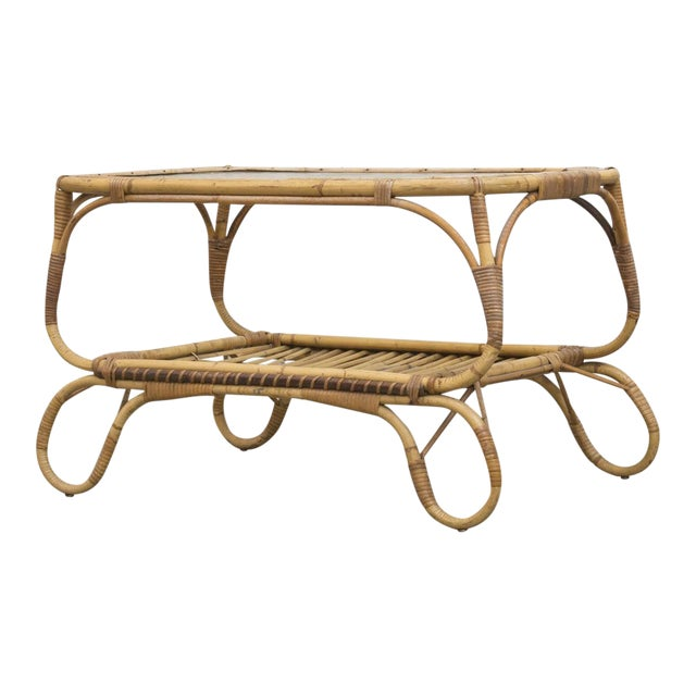 Bamboo Side Table With Magazine Rack - Image 1 of 7